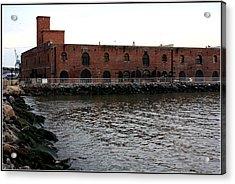 Old Brooklyn Pier Warehouse Acrylic Print by Dora Sofia Caputo Photographic Art and Design