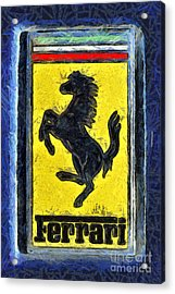 Painting Of Ferrari Badge Acrylic Print by George Atsametakis