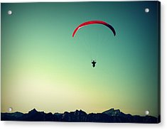 Paraglider Acrylic Print by Chevy Fleet