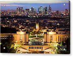 Paris Panorama France At Night Acrylic Print by Michal Bednarek