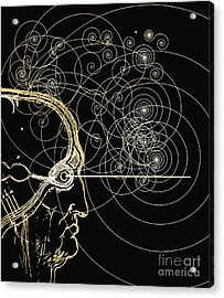 Particle Tracks And Head Acrylic Print by Mehau Kulyk