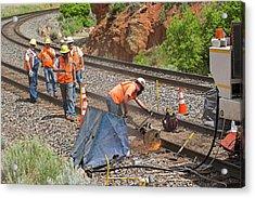 Railway Track Maintenance Acrylic Print by Jim West