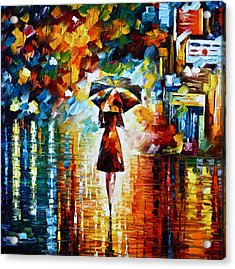 Rain Princess - Palette Knife Landscape Oil Painting On Canvas By Leonid Afremov Acrylic Print by Leonid Afremov