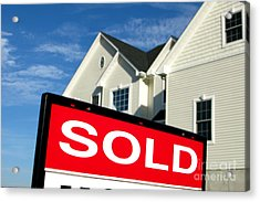 Real Estate Realtor Sold Sign And House For Sale Acrylic Print by Olivier Le Queinec