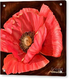 Red Poppy Two Acrylic Print by Joan A Hamilton
