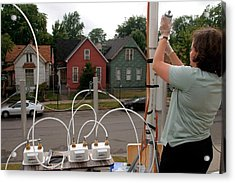 Researcher Recording Air Pollution Levels Acrylic Print by Jim West