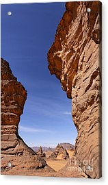 Rock Formations In The Akakus Mountains In The Sahara Desert Acrylic Print by Robert Preston