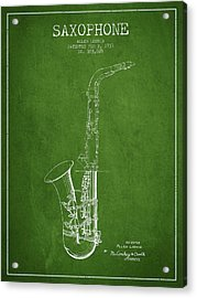 Saxophone Patent Drawing From 1937 - Green Acrylic Print by Aged Pixel