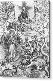 Scene From The Apocalypse Acrylic Print by Albrecht Durer or Duerer