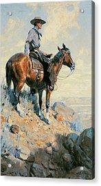 Sentinel Of The Plains Acrylic Print by William Herbert Dunton