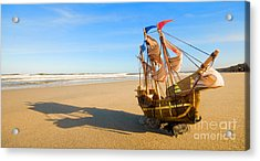 Ship Model On Summer Sunny Beach Acrylic Print by Michal Bednarek