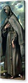St Francis Of Assisi Acrylic Print by El Greco Domenico Theotocopuli