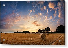 Stunning Summer Landscape Of Hay Bales In Field At Sunset Acrylic Print by Matthew Gibson