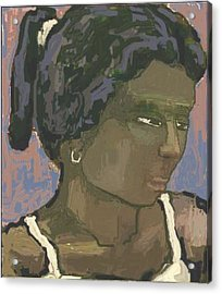 The Woman With The White Barrette Acrylic Print by Pemaro