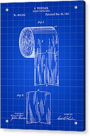 Toilet Paper Roll Patent 1891 - Blue Acrylic Print by Stephen Younts