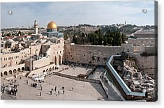 Tourists Praying At A Wall, Wailing Acrylic Print by Panoramic Images