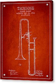 Trombone Patent From 1902 - Red Acrylic Print by Aged Pixel