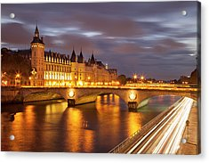 Twilight Over The Conciergerie And Pont Acrylic Print by Brian Jannsen