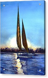 Two Sails At Sunset Acrylic Print by Ruth Bodycott
