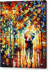 Under One Umbrella Acrylic Print by Leonid Afremov