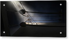 Vintage Boxing Corner And Stool Acrylic Print by Allan Swart
