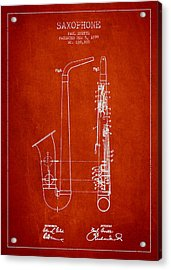 Saxophone Patent Drawing From 1899 - Red Acrylic Print by Aged Pixel
