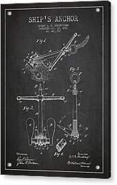 Vintage Ship Anchor Patent From 1892 Acrylic Print by Aged Pixel