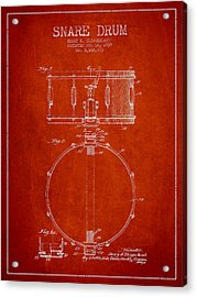 Snare Drum Patent Drawing From 1939 - Red Acrylic Print by Aged Pixel