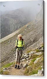 Walkers Doing The Tour Du Mont Blanc Acrylic Print by Ashley Cooper