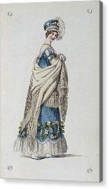 Walking Dress, Fashion Plate Acrylic Print by English School