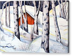 Snow Scenes In Watercolors Acrylic Print featuring the painting Waltz Of The Birches by Ruth Bodycott