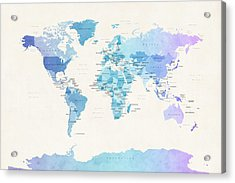 Watercolour Political Map Of The World Acrylic Print by Michael Tompsett