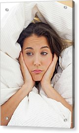 Woman In Bed With Hands On Chin Acrylic Print by Ian Hooton
