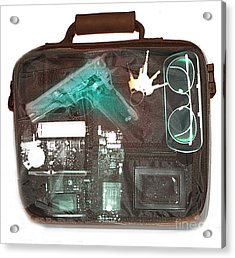 X-ray Of A Briefcase With A Gun Acrylic Print by Scott Camazine
