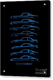 Ford Mustang Silhouettehistory Acrylic Print by Gabor Vida