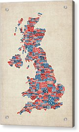 Great Britain Uk City Text Map Acrylic Print by Michael Tompsett