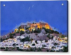 Acropolis And Village Of Lindos Acrylic Print by George Atsametakis