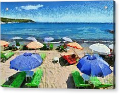 Agia Marina Beach Acrylic Print by George Atsametakis