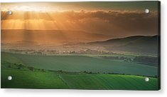 Beautiful English Countryside Landscape Over Rolling Hills Acrylic Print by Matthew Gibson