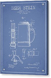 Beer Stein Patent From 1914 - Light Blue Acrylic Print by Aged Pixel