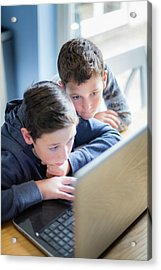 Boys Using Laptop Acrylic Print by Samuel Ashfield