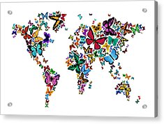 Butterflies Map Of The World Acrylic Print by Michael Tompsett