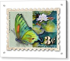 3 Cent Butterfly Stamp Acrylic Print by Amy Kirkpatrick