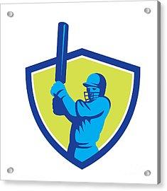 Cricket Player Batsman Batting Shield Retro Acrylic Print by Aloysius Patrimonio