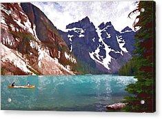 Fishing On Lake Louise Acrylic Print by Allen Beatty