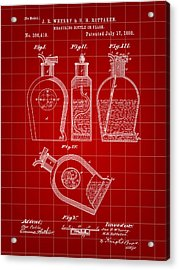 Flask Patent 1888 - Red Acrylic Print by Stephen Younts