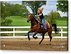 Horse And Rider In Barrel Race Acrylic Print by Amy Cicconi