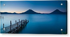 Jetty In A Lake With A Mountain Range Acrylic Print by Panoramic Images