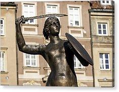 Mermaid Statue In Warsaw. Acrylic Print by Fernando Barozza