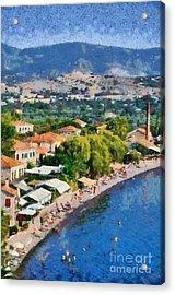 Molyvos Beach Acrylic Print by George Atsametakis